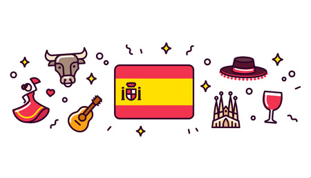 Spain banner design elements. Spanish flag surrounded with traditional signs and symbols. Stock Illustratie