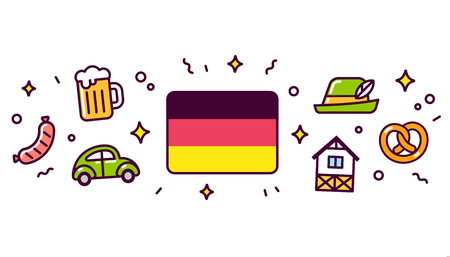 Germany banner design elements. German flag surrounded with traditional culture symbols. Vector clip art illustration, cute cartoon style icons.
