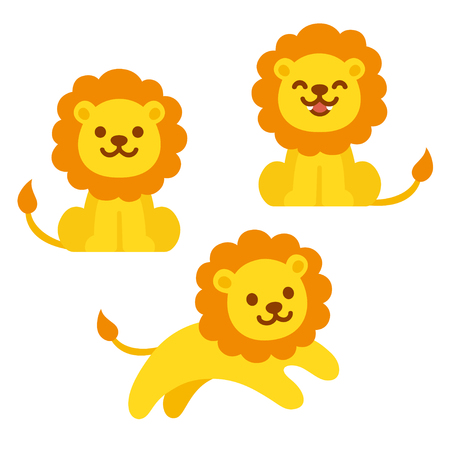 Cute cartoon lion illustration set. Sitting, roaring and jumping. Funny vector clip art illustration for kids. Stock Illustratie