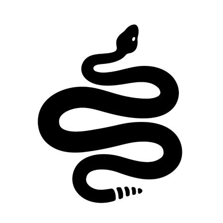Disegno a serpente a sonagli in bianco e nero. Siluetta semplice del serpente, illustrazione isolata di clipart di vettore. Disegno del tatuaggio. Vettoriali