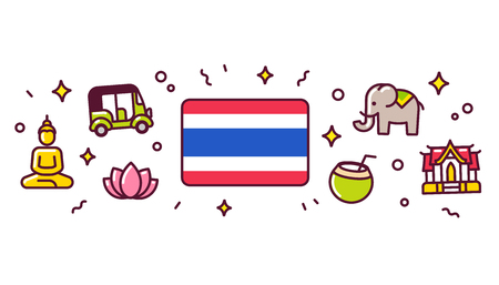 Thailand banner design elements. Thai flag surrounded with traditional culture symbols. Vector clip art illustration, cute cartoon style icons.