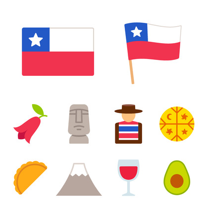Chile icons set in flat cartoon style. Traditional Chilean culture symbols, isolated vector illustration.