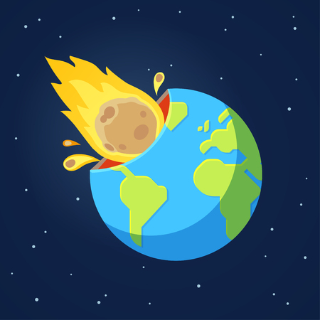 Asteroid comet hits Earth in end of world doomsday scenario. Global catastrophe event. Cartoon style vector illustration. Vettoriali