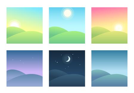 Ajardine en diferentes momentos del día, ilustración del ciclo diario. Hermosas colinas en la mañana, día y noche.