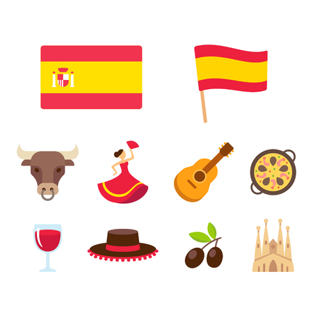 Spain icons set in flat cartoon style. Traditional Spanish national symbols, isolated vector illustrations.