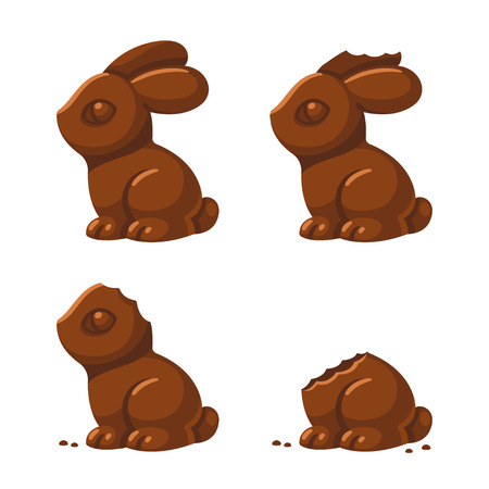 Cute chocolate bunny in different stages of being eaten: with a little bite, then ear and head bitten off. Traditional Easter treat, isolated vector illustration. Illustration