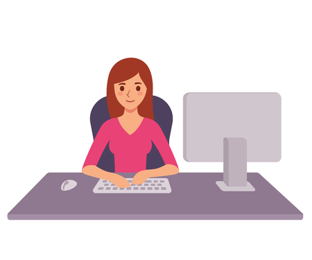 Young business woman working at office desk, typing on computer keyboard. Modern flat cartoon style vector stock illustration.