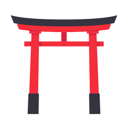 Torii, traditional Japanese gate structure. Isolated vector illustration in simple flat style.