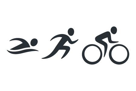 Ikony aktywności triathlonu - pływanie, bieganie, rower. Prosty zestaw piktogramów sportowych. Logo na białym tle wektor.