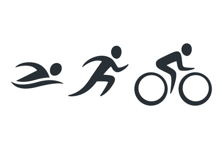 Triathlon activity icons - swimming, running, bike. Simple sports pictogram set. Isolated vector logo. Stockfoto - 99840238