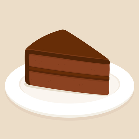 Sachertorte, traditional Austrian chocolate cake with ganache frosting vector illustration