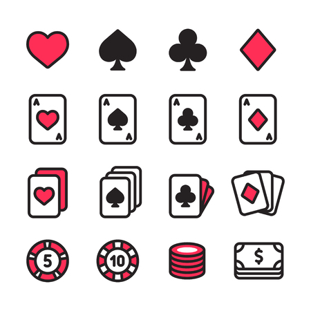 Poker icon set vector illustration