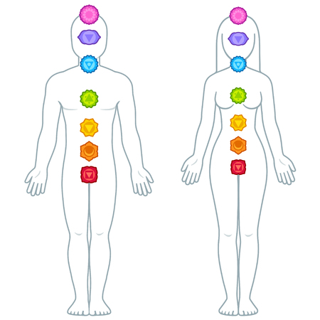 Male and female figure silhouette with chakra symbols, chakras location Ayurveda infographics vector illustration