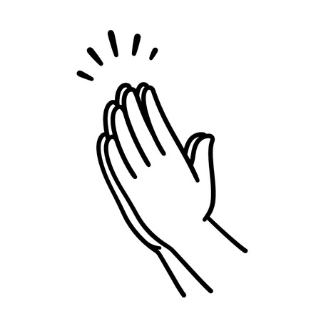 Praying hands drawing, simple line icon illustration. Hands folded in Christian prayer.