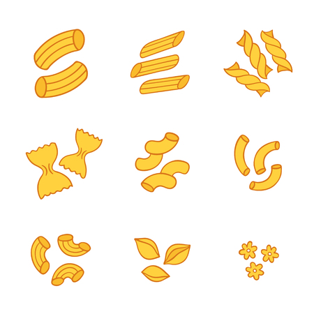Italian pasta types set, different shapes of macaroni. Hand drawn isolated vector illustration.
