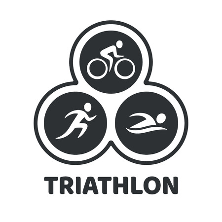 Triathlon event logo. Swim, run and bike icons in simple modern style. Isolated vector symbol.