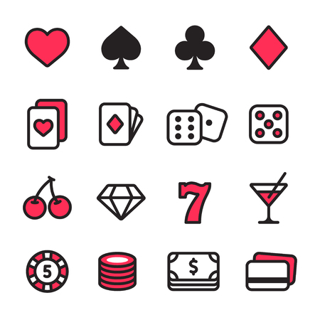 Casino line icon set. Poker cards, dice and chips, slot machine symbols and money. Simple modern style vector icons. Illustration