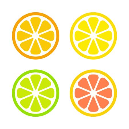 Citrus fruit slices set. Orange, lemon, lime and grapefruit. Simple bright cartoon icons, isolated vector illustration.