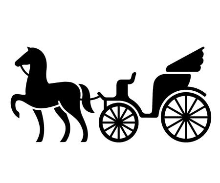 Vintage paard en wagen. Gestileerd silhouet van paard en passagier met fouten. Zwart-wit geïsoleerde vectorillustratie.