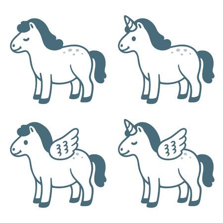Conjunto de dibujos animados lindo pequeño pony. Caballo normal, con alas (Pegaso), cuerno (Unicornio) y ambos. Diseño de personajes gorditos divertidos, ilustración vectorial.
