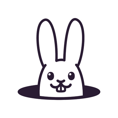 Cute cartoon rabbit looking from hole in ground. Simple black and white bunny drawing, isolated vector illustration.