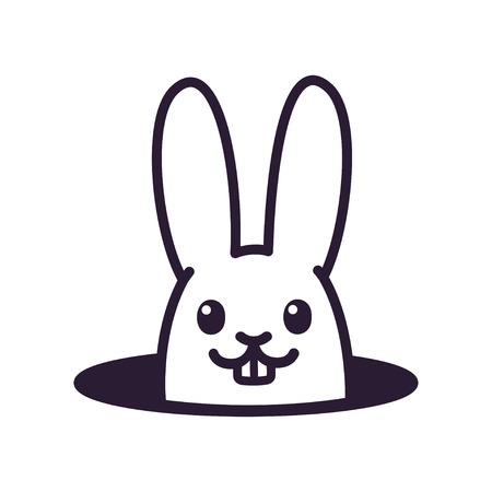Leuk cartoonkonijn dat van gat in grond kijkt. Eenvoudige zwart-witte konijntekening, geïsoleerde vectorillustratie.