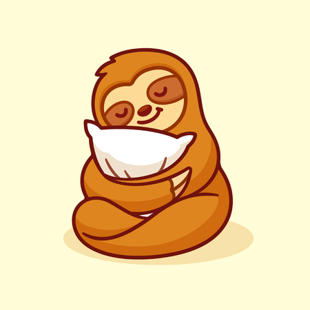 Cute sloth sleeping with pillow. Adorable cartoon character isolated vector illustration. Illustration
