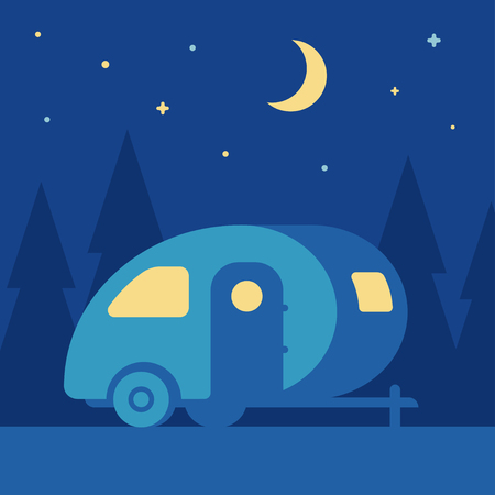 Night outdoor landscape with retro camper trailer in woods. Cute vintage mobile home camping scene, simple flat cartoon style vector illustration. Illustration