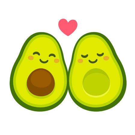 Cute cartoon avocado couple in love,