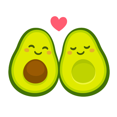 Cute cartoon avocado couple in love,
