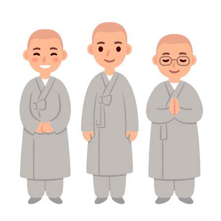 Cute cartoon Buddhist monks or nuns in Zen robes. Simple vector illustration.