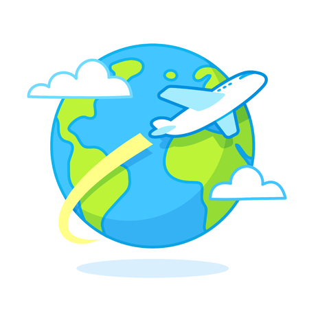 Cartoon airplane flying around the world, planet Earth with clouds. Travel concept vector illustration.