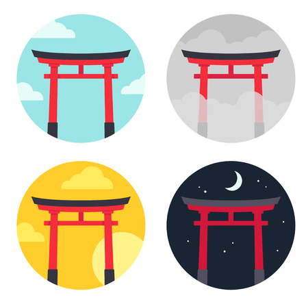 Torii, traditional Japanese gates in different time and weather. Simple flat cartoon style vector illustration set.
