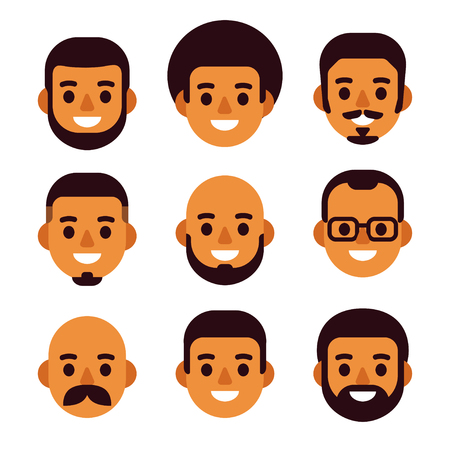 Cartoon black man avatar icon set. Cute and simple male portraits with different haircuts and facial hair. Flat design