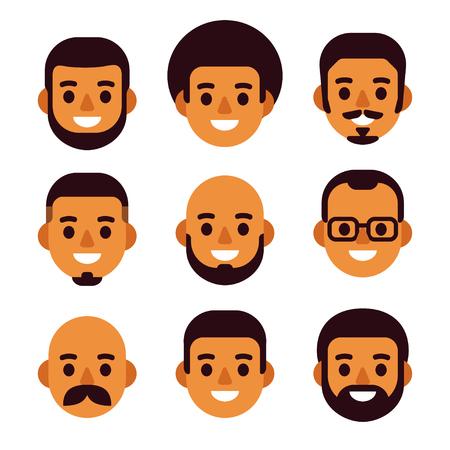 Conjunto de iconos de avatar de hombre negro de dibujos animados. Retratos masculinos lindos y sencillos con diferentes cortes de pelo y vello facial. Diseño plano