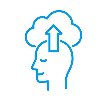 Profil de tête stylisé avec téléchargement vers le cloud