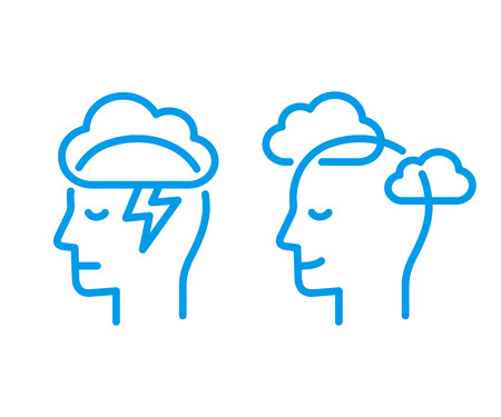 Kopfprofil mit Gewitterwolke und klarem Himmel. Achtsamkeit und Stressbewältigung in der Psychologie