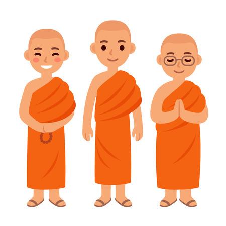 Cute cartoon Thai Buddhist monks in orange robes Ilustração