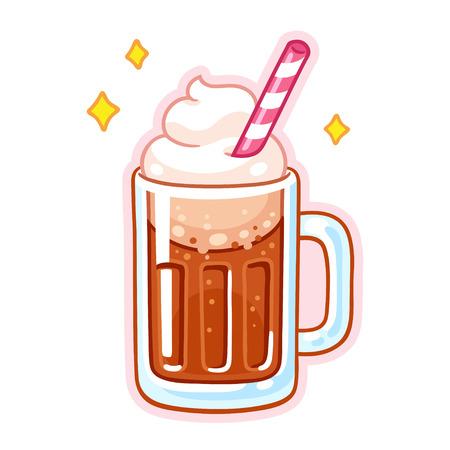 Illustration de flotteur de bière de racine de dessin animé mignon. Chope de root beer avec glace, crème fouettée et paille. Vecteurs