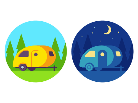 Retro camper trailer, day and night scene. Cute vintage camping