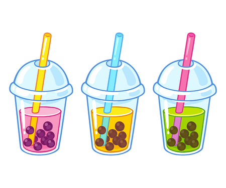 Cute cartoon bubble tea cups drawing set. Hand drawn boba tea drinks vector illustration. Иллюстрация