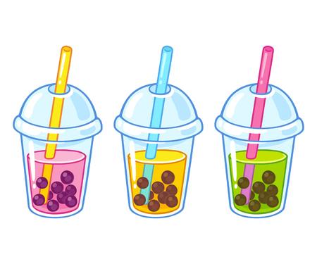Ensemble de dessin de tasses de thé à bulles dessin animé mignon. Illustration vectorielle de thé boba dessiné à la main.