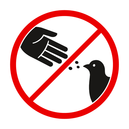 Do not feed the birds warning sign, stylized vector pigeon silhouette and hand symbol in crossed red circle. Ilustração