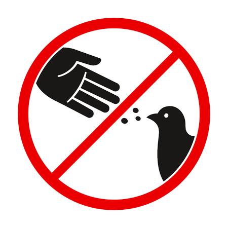 Voed het waarschuwingsbord van de vogels, het gestileerde vectorduivensilhouet en het handsymbool in gekruiste rode cirkel niet. Vector Illustratie