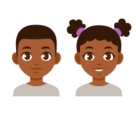 Cute cartoon black children portraits. African American boy and girl isolated vector illustration. Vettoriali