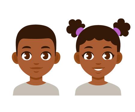 Ritratti di bambini neri simpatico cartone animato. Ragazzo afroamericano e ragazza isolata illustrazione vettoriale. Vettoriali