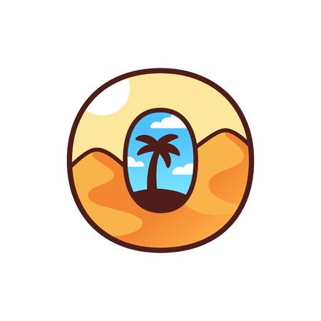 Oasis logo a forma di lettera O. Sagoma di albero di palma all'interno di dune di sabbia del deserto. Illustrazione di design tipografia.