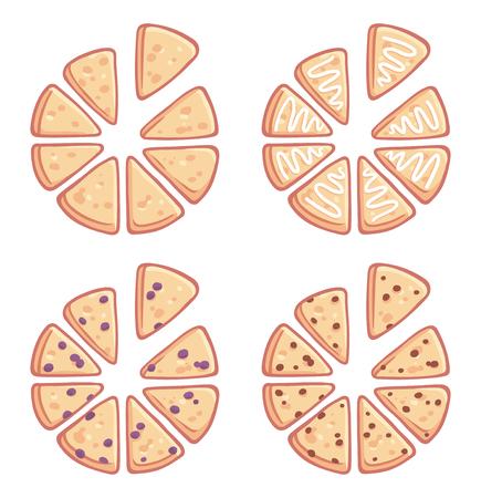Set van driehoekige zelfgemaakte scones. Gewoon, geglazuurd, bosbessen en chocoladeschilfers. Traditionele Engelse theelekkernijen.