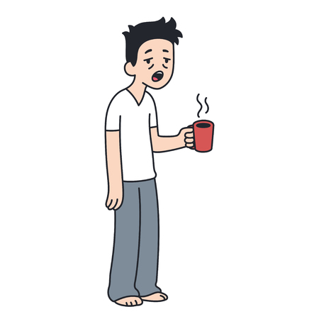 Sleepy man holding cup of coffee and yawning. Morning routine cartoon illustration.