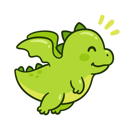 Cute cartoon green baby dragon flying. Funny little character drawing, isolated vector illustration.